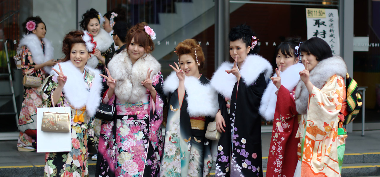 Group of girls wearing a furisode