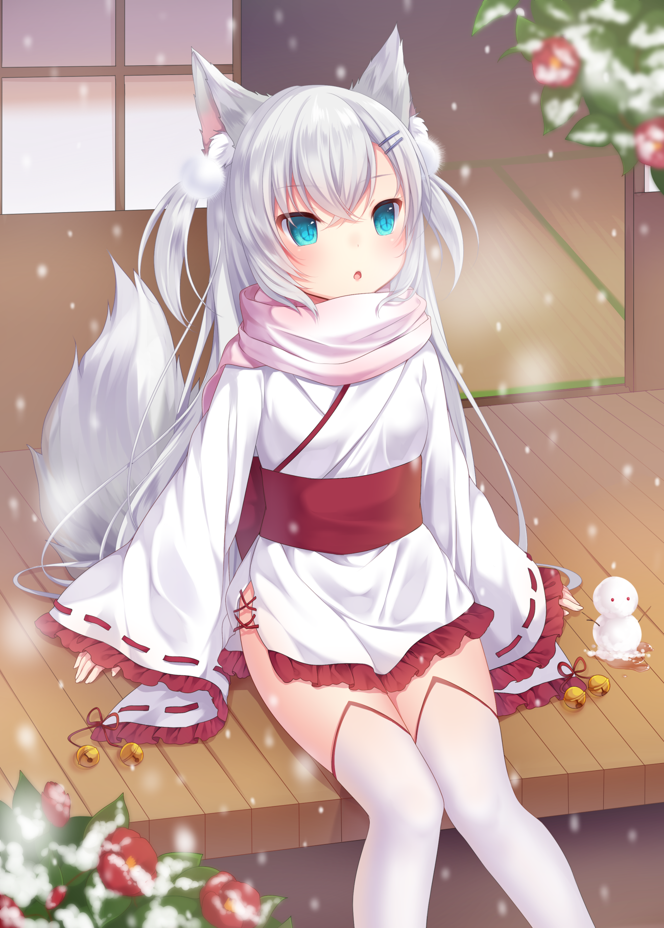 cute fox girl sitting outside in snow