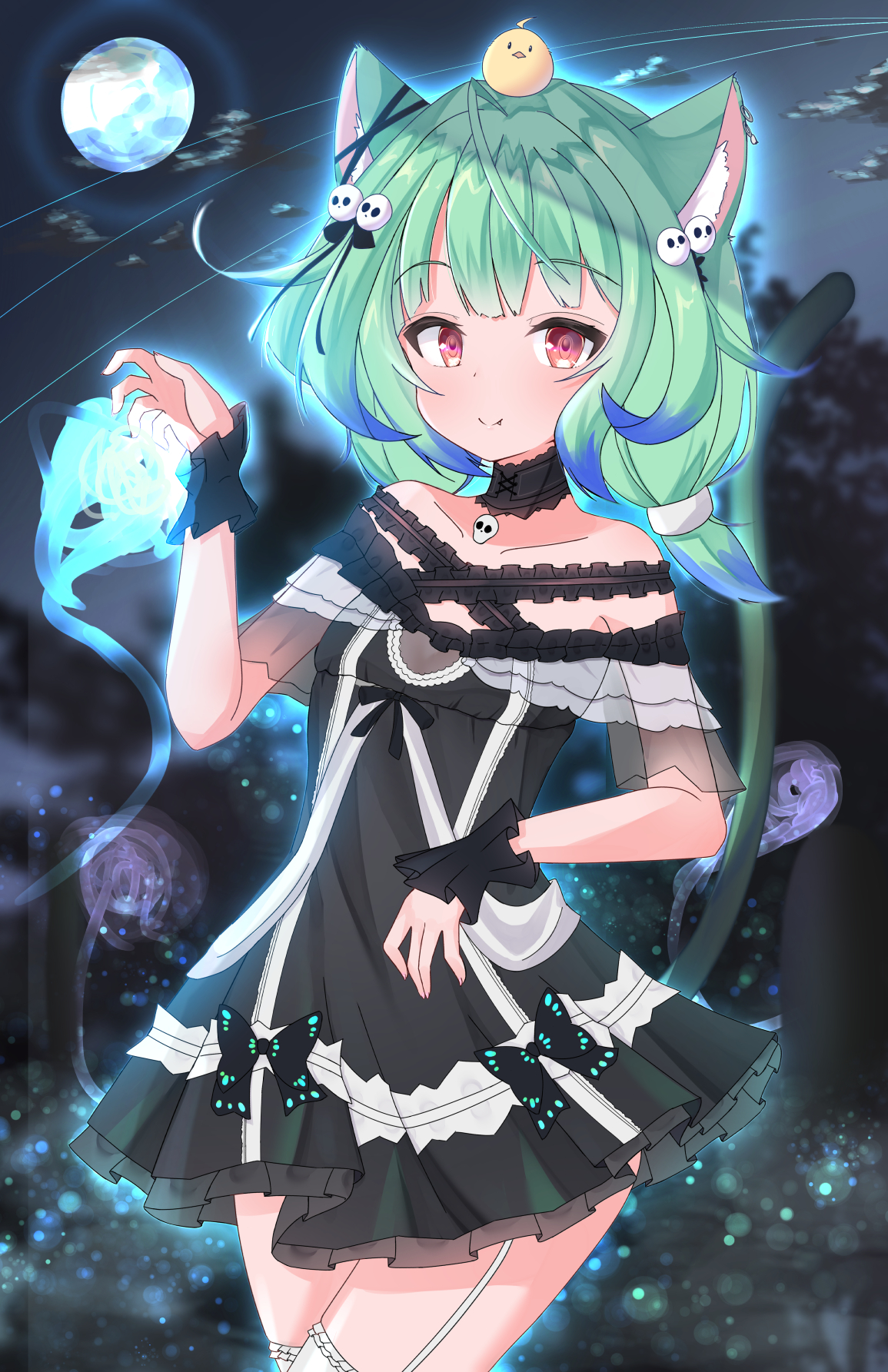 Green hair anime girl