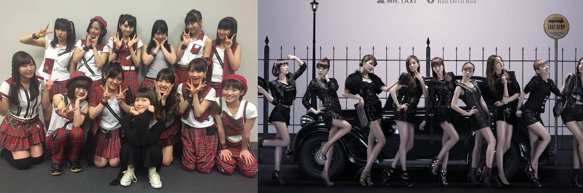 Morning Musume (J-Pop, Left), Gilrs Generation (K-Pop, Right)