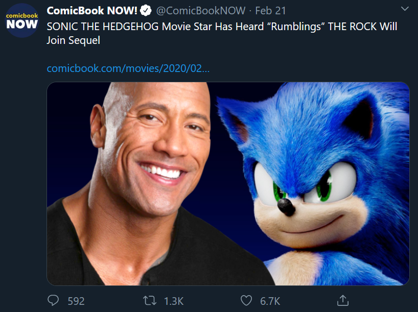 The Rock in sonic sequel?