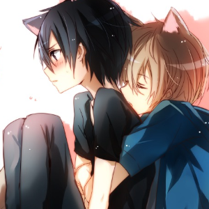 Cat boys snuggling is re...