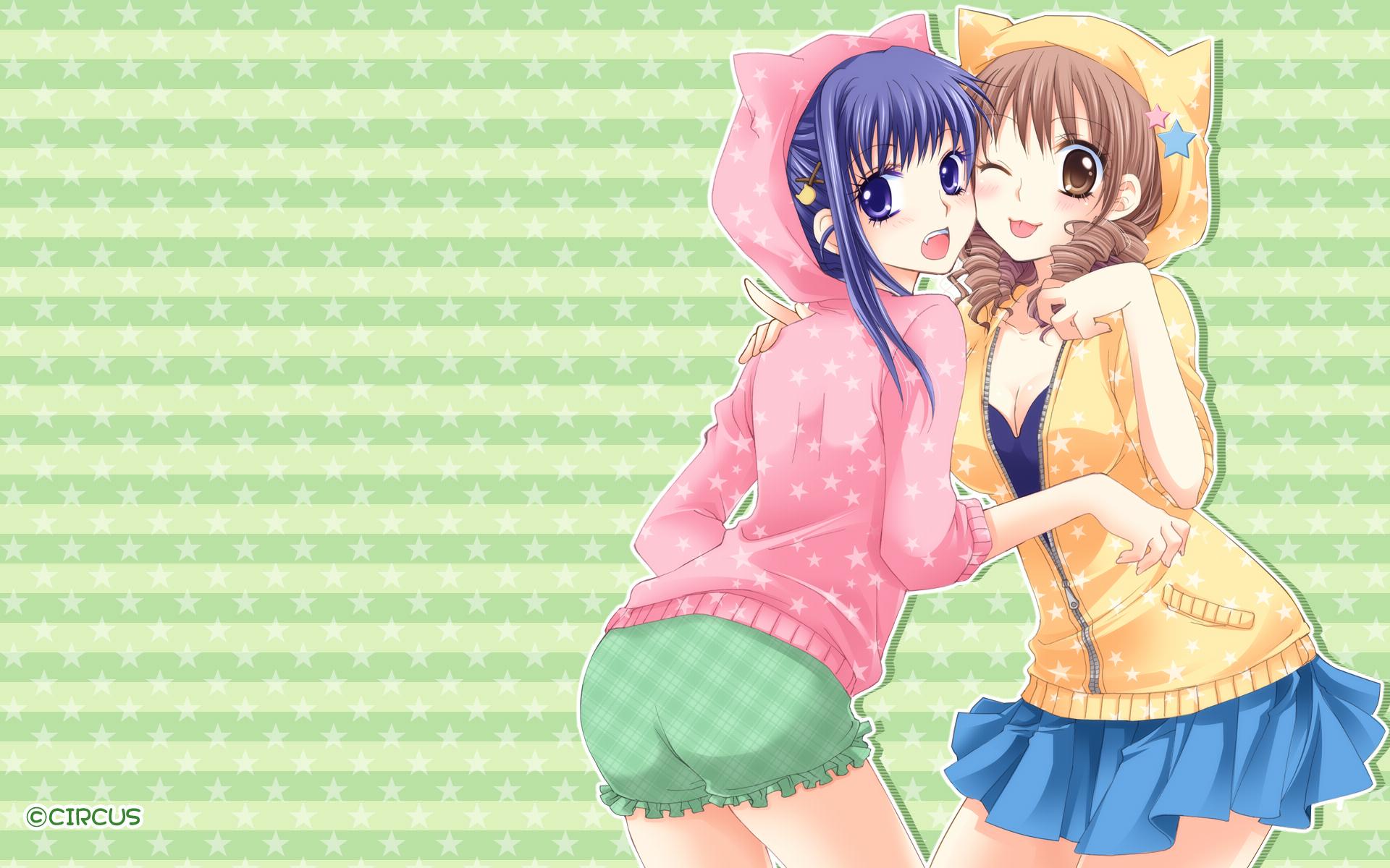 anime girls cute cat girl nekomimi blue skirt pink sweater black