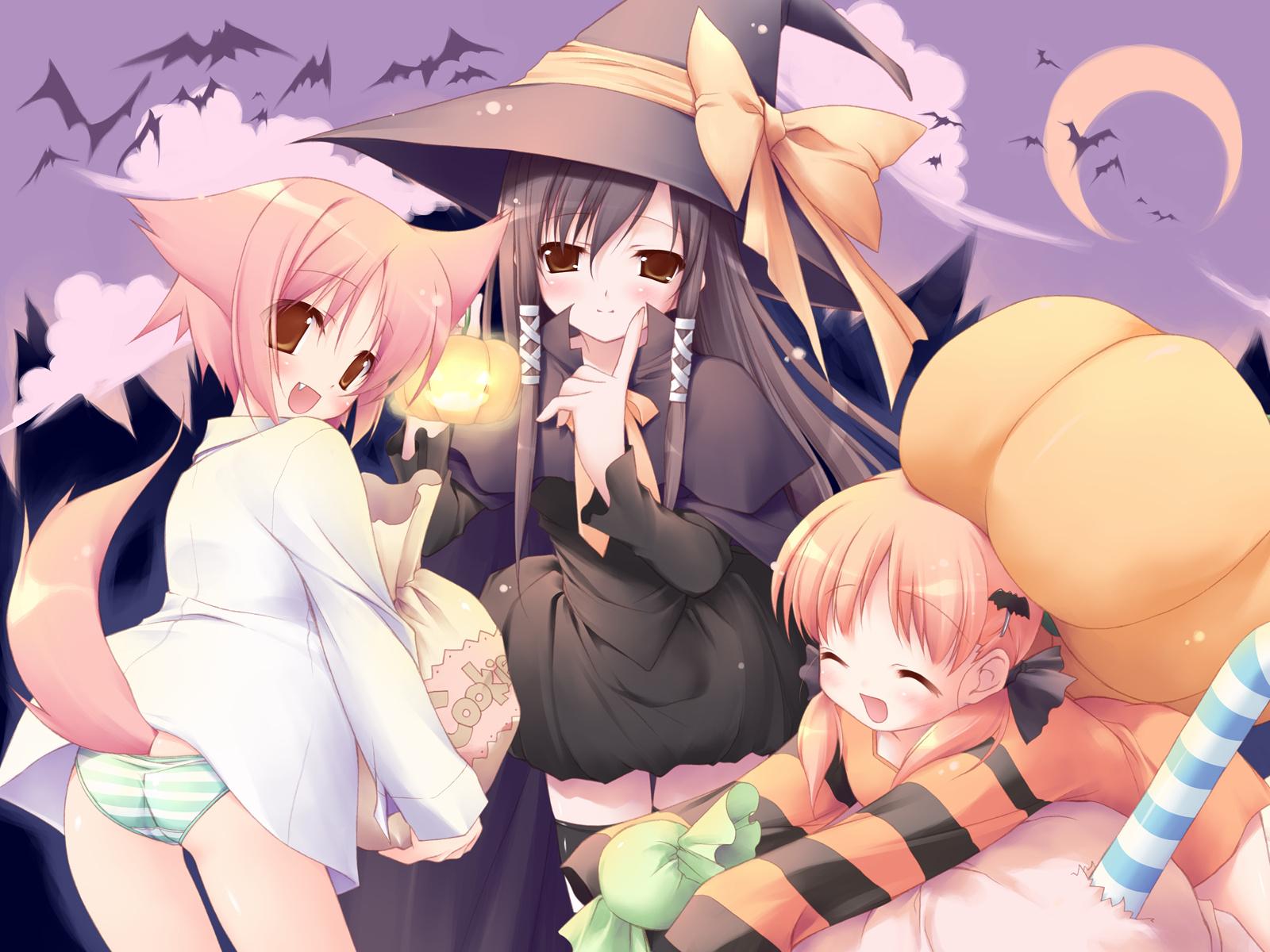 kitsune mimi fox girls halloween wallpaper anime wallpapers